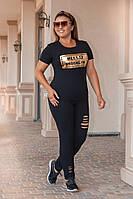 Стильный женский костюм с разрезами, большой размер, фото 1