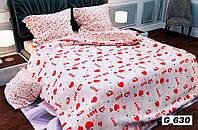 Евро комплект постельного белья с принтом сердечки и собачки.