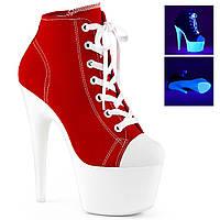 Красные ботинки-двойки со светящейся белой платформой