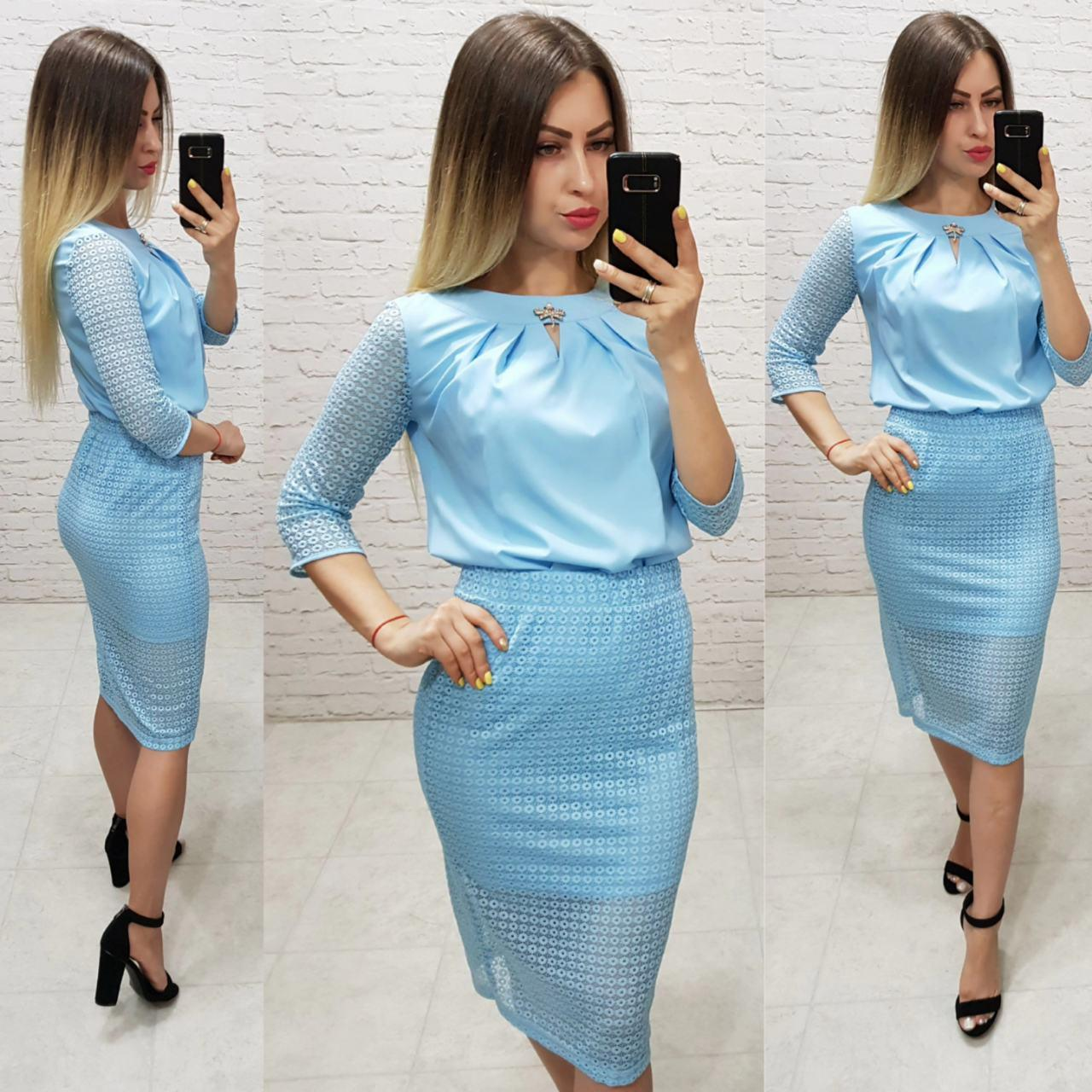 Комплект юбка+блуза, ткань бенгалин, цвет голубой