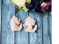 """Аппликация """"Кошечка мех + декор"""", 5,5 х 4  см, 10 шт/уп.нежно-розовая"""