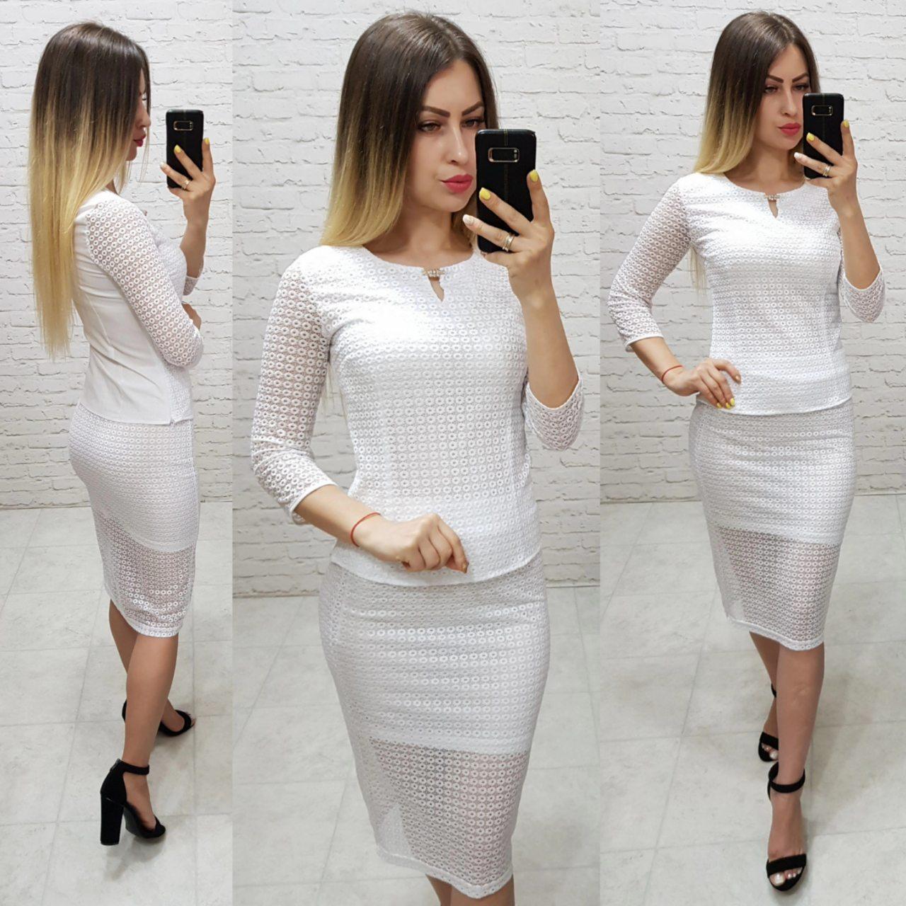 Комплект юбка+блуза, ткань бенгалин, цвет белый
