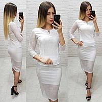 Комплект юбка+блуза, ткань бенгалин, цвет белый, фото 1