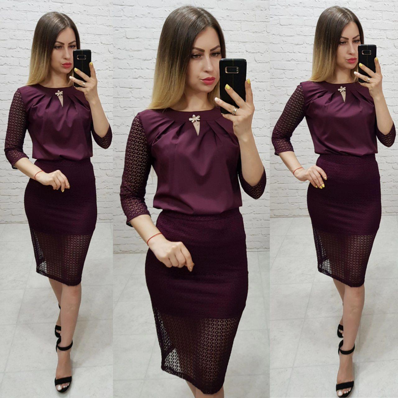 Комплект юбка+блуза, ткань бенгалин, цвет марсала