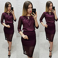 Комплект юбка+блуза, ткань бенгалин, цвет марсала, фото 1