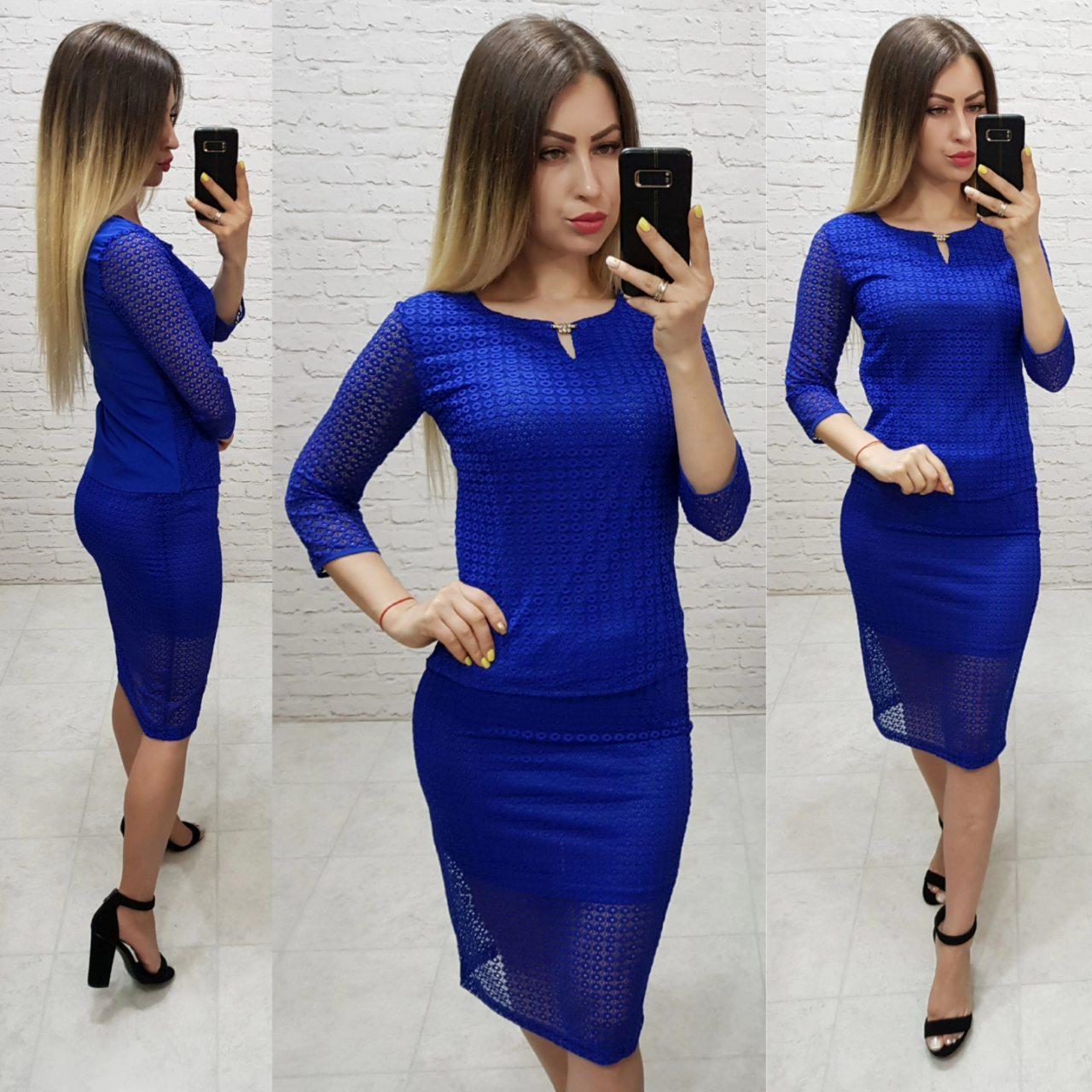 Комплект юбка+блуза, ткань бенгалин, цвет электрик