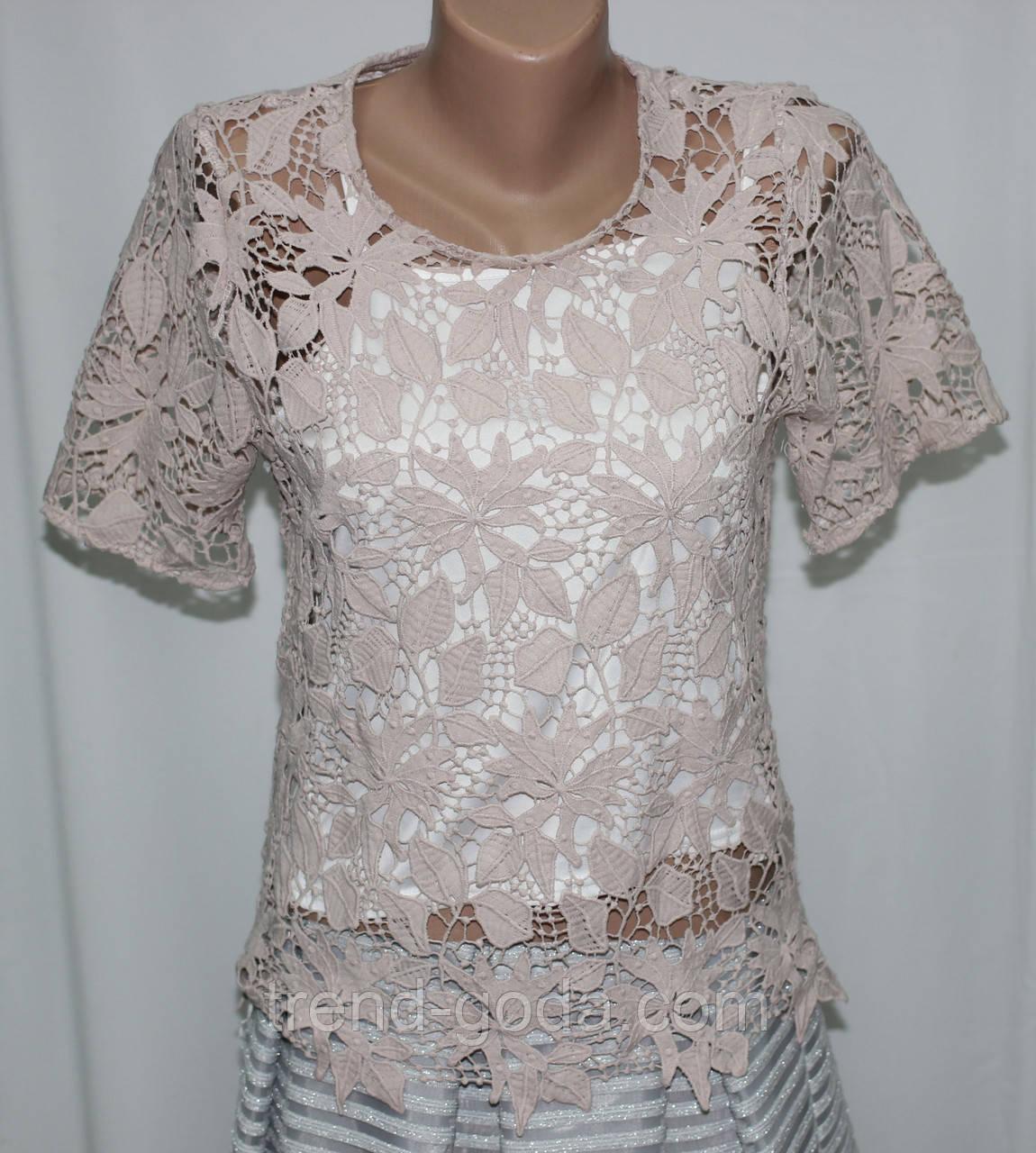 Блузка женская, розовая  кружевная