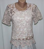 Блузка женская, розовая  кружевная, фото 1