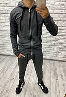 Костюм спортивный мужской из двунитки с капюшоном и карманами-кенгуру (К28409), фото 1