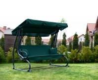 """Садовая качеля-кровать """"Люкс"""" с подушками зеленая, до 260 кг. Производство Польша"""