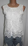 Блуза кружевная женская, белая, без рукава