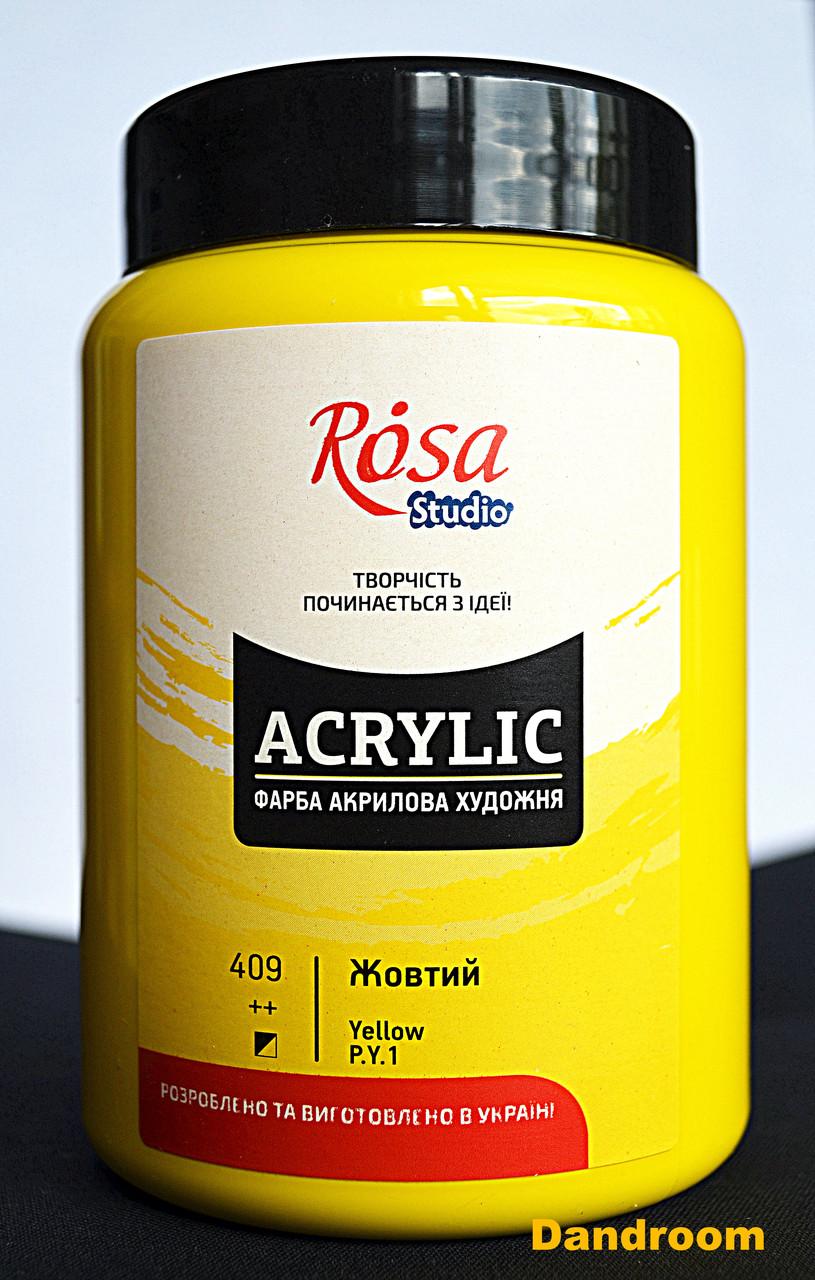 Краска акриловая, Желтая, 400 мл, ROSA Studio