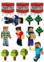 """Вафельна картинка для мафінів, топперов, пряників """"Minecraft"""" (лист А4)"""