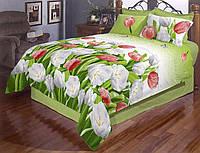 Яркое постельное белье евро размера с красивыми тюльпанами.