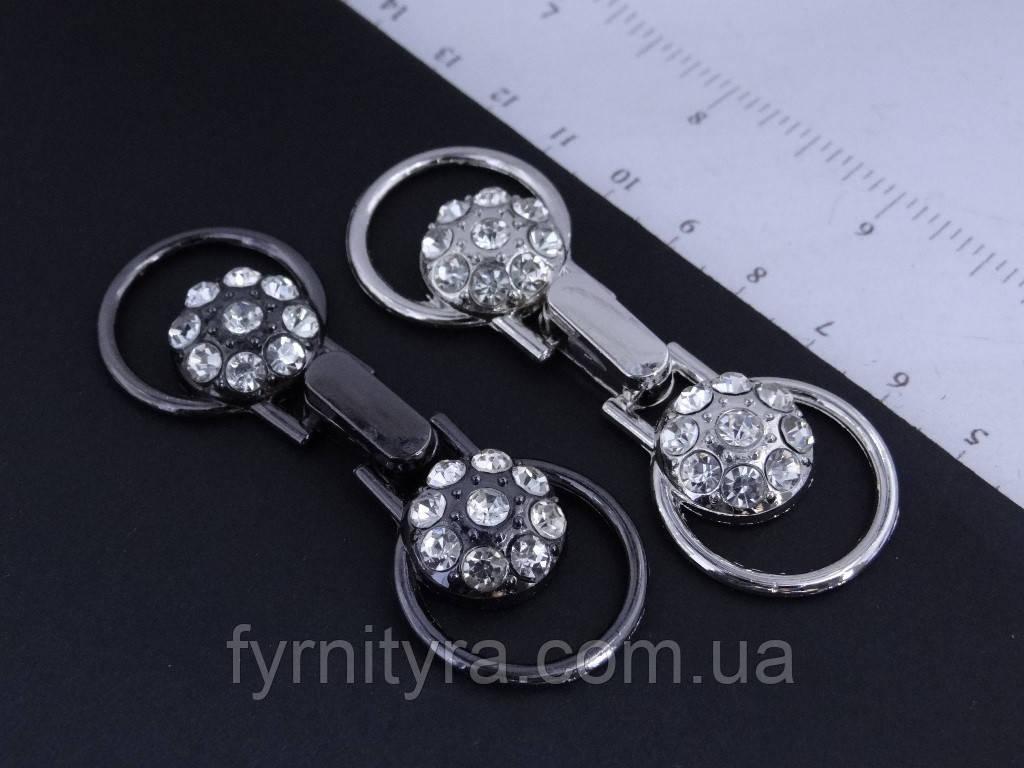 Застібка декоративна 027 silver, black