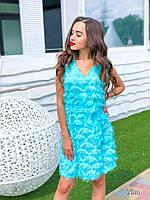 Женское летнее платье бирюзовое универсальное