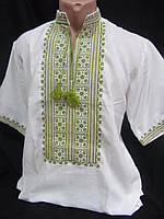 Вышиванка на домотканом полотне с коротким рукавом