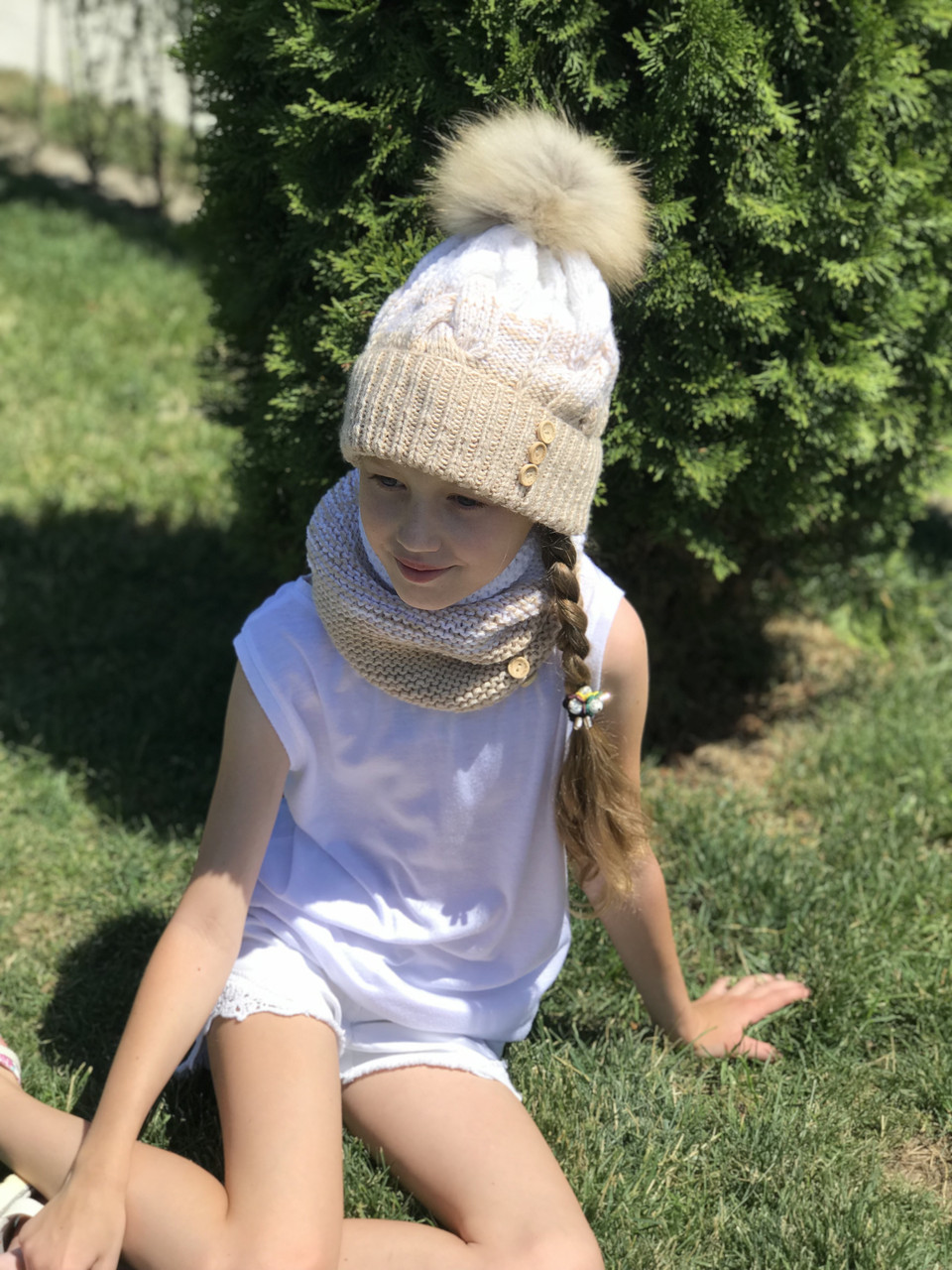 Вязаная шапка и снуд. На возраст: 2-9 лет.