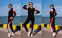 Женский летний спортивный костюм комбинация черный\красный\белый 42-44, 44-46