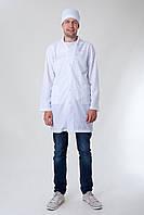 Мужской медицинский халат белый однотонный