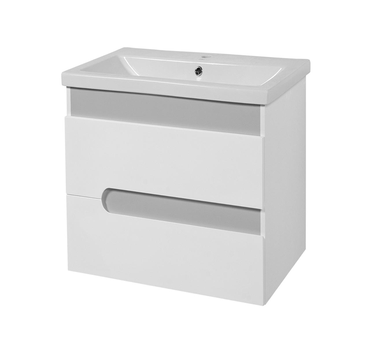 Тумба под раковину для ванной комнаты Симпл-Металлик 60-30 Подвесная с умывальником Комо 60 ПИК