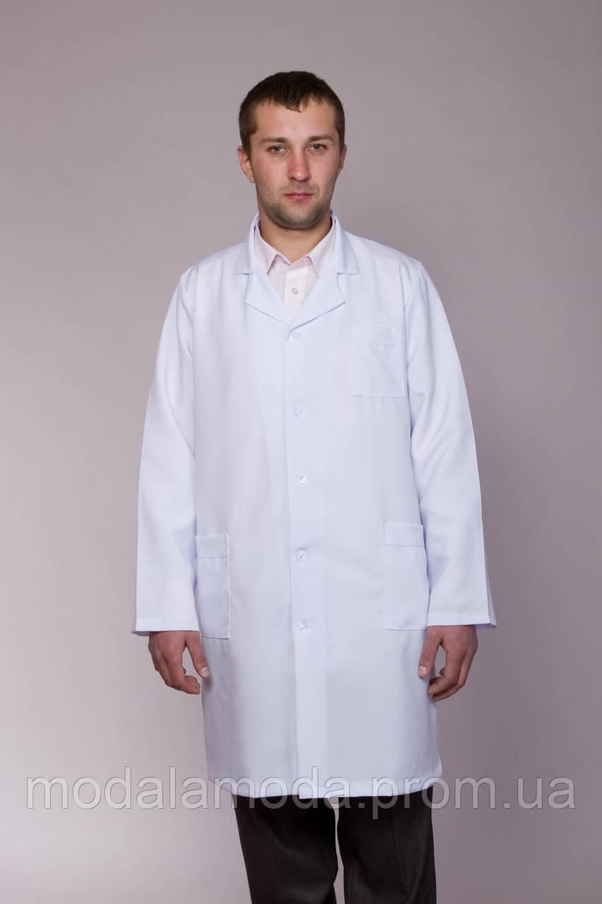 Халат медицинский белый однотонный с карманами и длинным рукавом