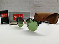 Очки унисекс солнцезащитные Ray Ban Рей  Бен  кругляши  линза темно-зеленая (реплика)