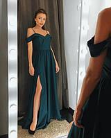 9ce2a45fc98 Вечерние платья в пол (цвет - зеленый, ткань - креп костюмка) Размер L