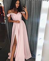 Платье женское на бретельках (цвет - персик, ткань - креп костюмка) Размер S, M, L (розница и опт)