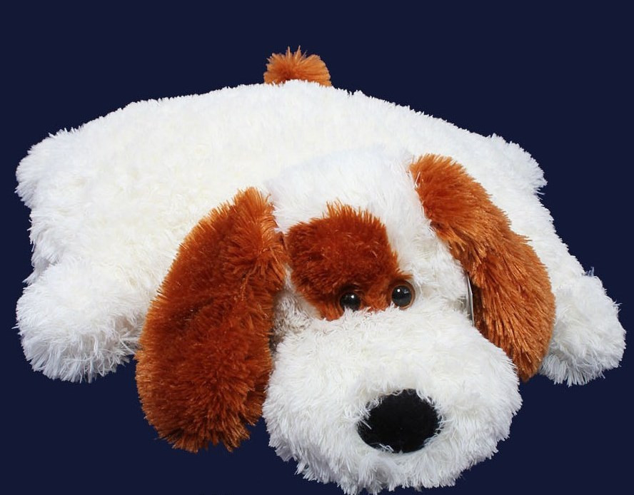Подушка игрушка - Собака 55 см (55*50*15 см) белая с коричневым
