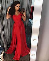 Красное вечернее платье (цвет - красный, ткань - креп костюмка) Размер S, M, L (розница и опт)