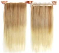 Волосы на заколках омбре светлое ровные трессы
