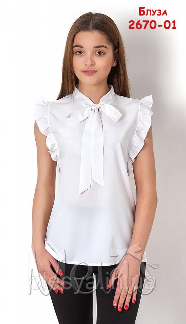Блуза школьная с коротким рукавом на девочку 2670 ТМ Mevis Размер 164