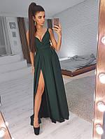 Платье на бретельках  (цвет - зеленый, ткань - креп костюмка) Размер S, M, L (розница и опт)