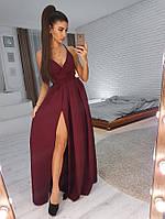Платье для выпускного  (цвет - бордо, ткань - креп костюмка) Размер S, M, L (розница и опт)