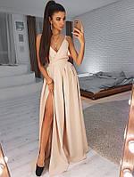 Платья 2019  (цвет - беж, ткань - креп костюмка) Размер S, M, L (розница и опт)