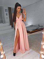 Нежное вечернее платье  (цвет - персик, ткань - креп костюмка) Размер S, M, L (розница и опт)
