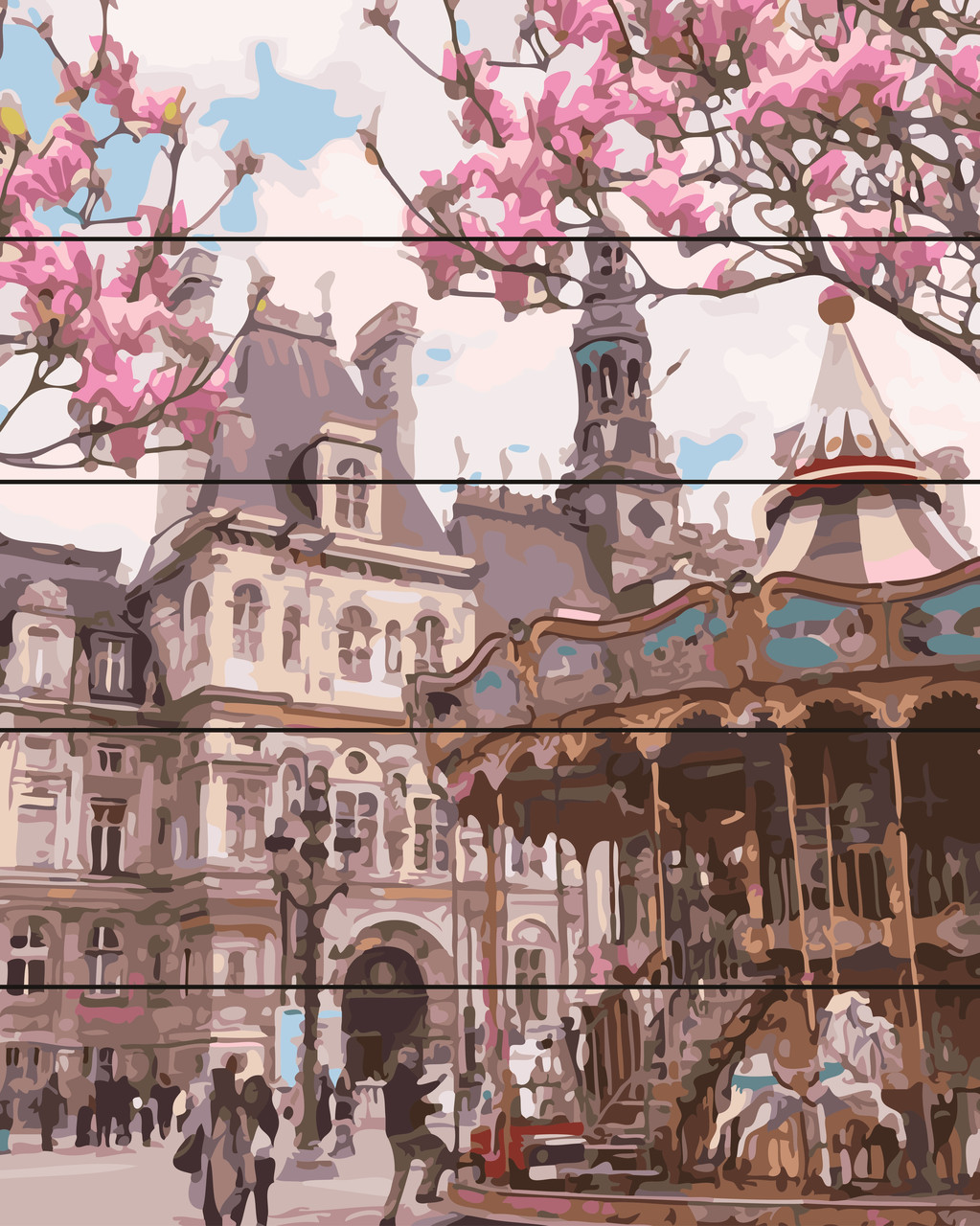 PREMIUM Картина по номерам на дереве 40х50 см. Площадь в Праге Rainbow Art