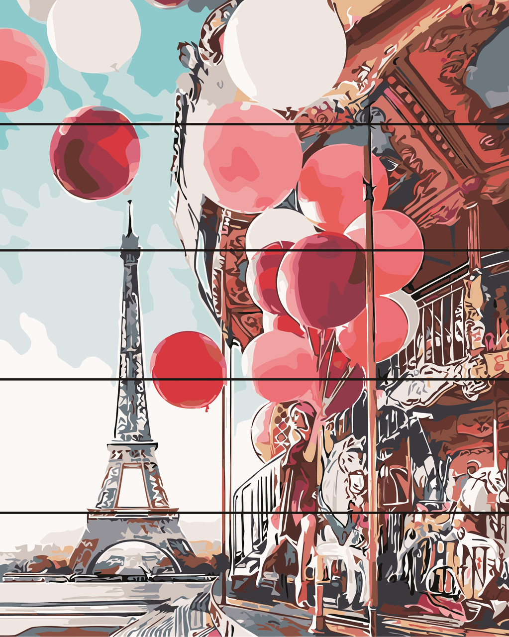 PREMIUM Картина по номерам на дереве 40х50 см. Парижская карусель Rainbow Art