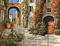 PREMIUM Картина по номерам на дереве 40х50 см. Живописная улочка