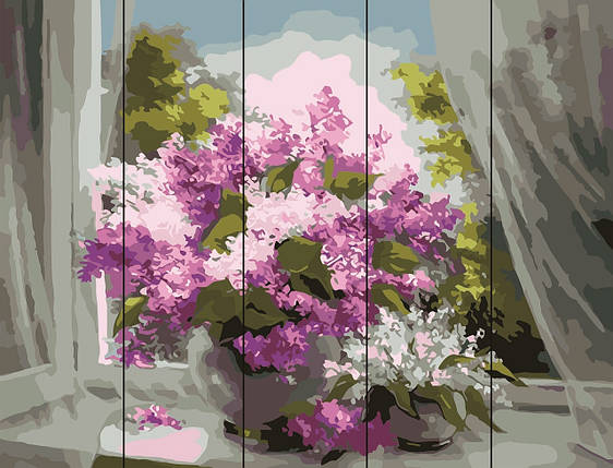 PREMIUM Картина по номерам на дереве 40х50 см. Сирень у окна Rainbow Art, фото 2