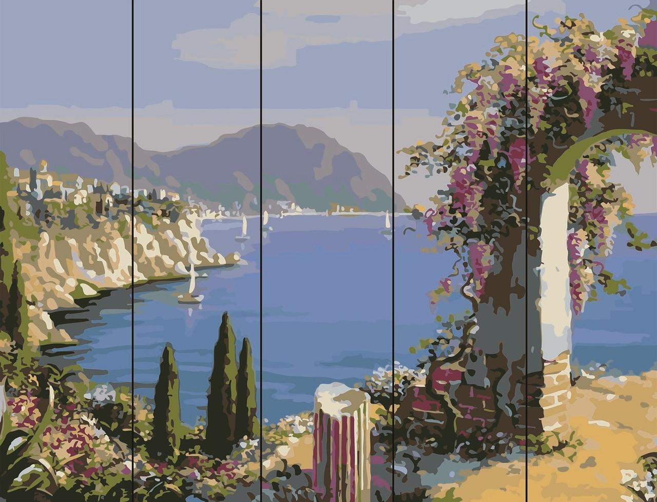 PREMIUM Картина по номерам на дереве 40х50 см. Цветущая арка  Rainbow Art