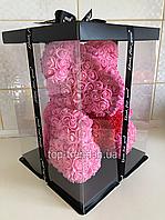 ОРИГИНАЛ !  Мишка из роз 40 см в Подарочной Коробке. Розовый медведь с красным 3D сердцем.