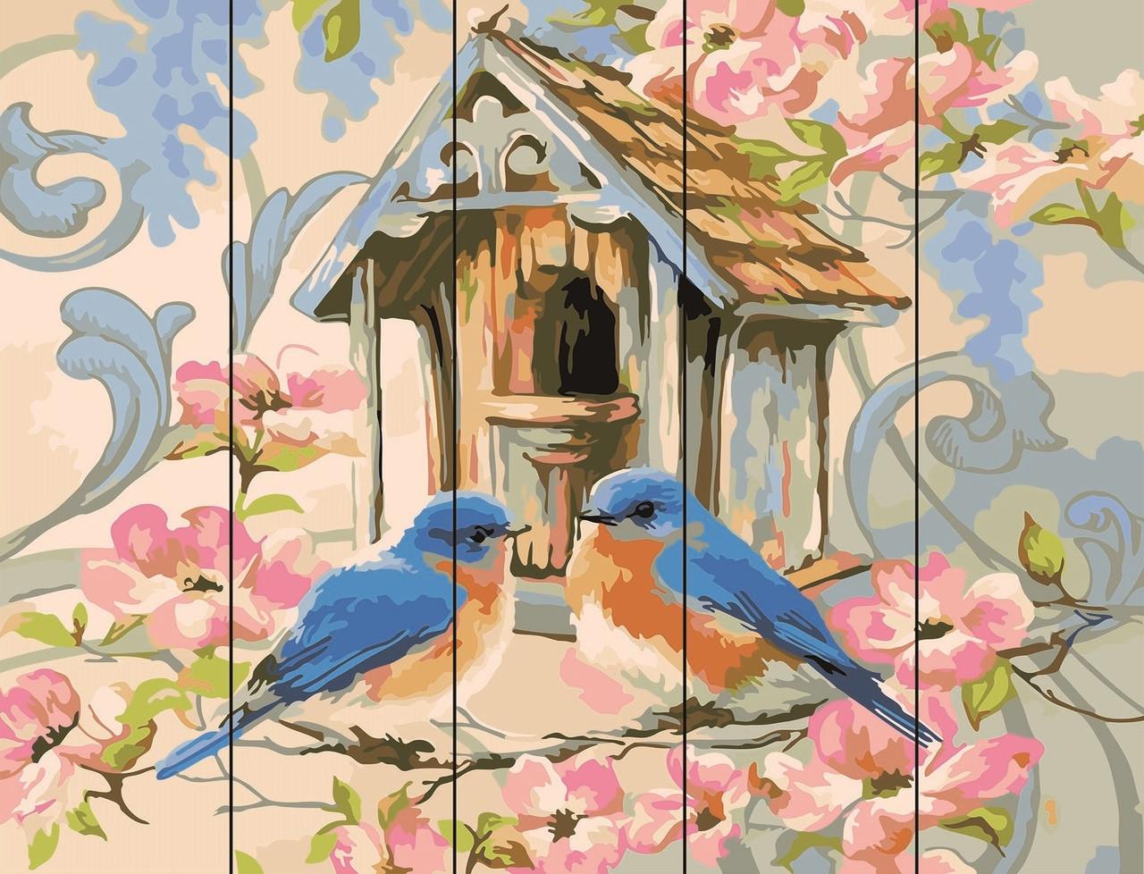 PREMIUM Картина по номерам на дереве 40х50 см. Синички  Rainbow Art