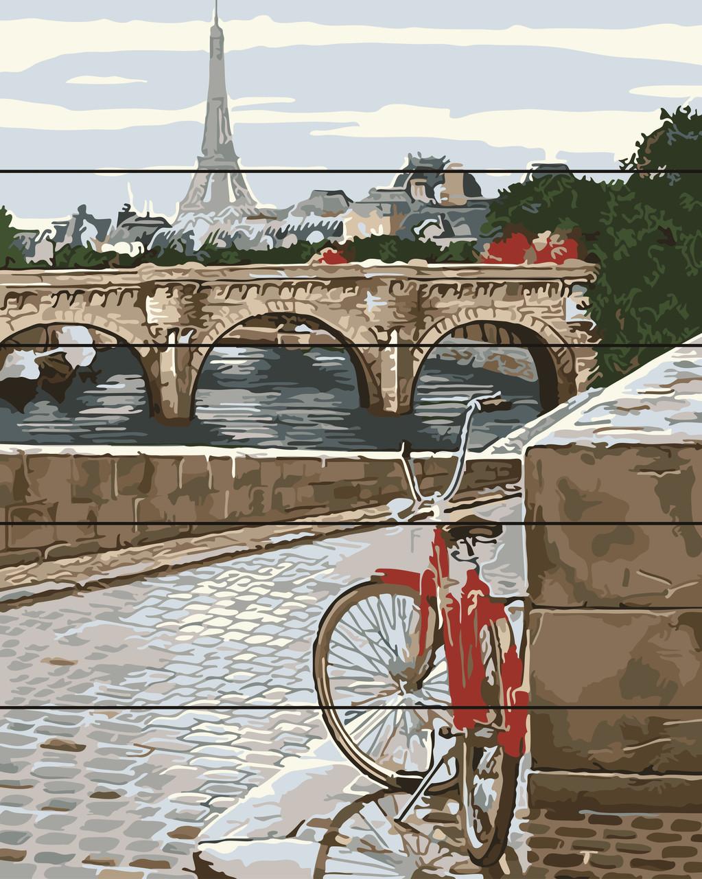 PREMIUM Картина по номерам на дереве 40х50 см. Парижская мостовая Rainbow Art