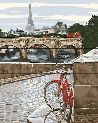 PREMIUM Картина по номерам на дереве 40х50 см. Парижская мостовая Rainbow Art, фото 2