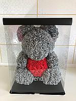 ОРИГИНАЛ !  Мишка из роз 40 см в Подарочной Коробке. Серый медведь с красным 3D сердцем.