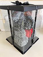 Мишка из роз 40 см в Подарочной Коробке. Серый медведь с красным 3D сердцем. ОРИГИНАЛ !