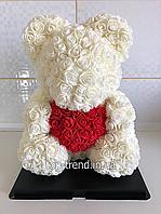 Мишка из роз 40 см в Подарочной Коробке. Белый медведь с красным 3D сердцем. ОРИГИНАЛ !