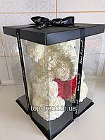 ОРИГИНАЛ !  Мишка из роз 40 см в Подарочной Коробке. Белый медведь с красным 3D сердцем.
